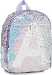 Bluezoo Girls Light Blue Sequin Monogram Backpack