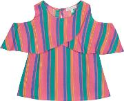 Bluezoo Girls Multicoloured Striped Cold Shoulder Top