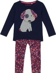 Bluezoo Girls Navy Dog Applique Top And Bottoms Set