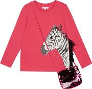 Bluezoo Girls Pink Sequinned Zebra Top With A Bag
