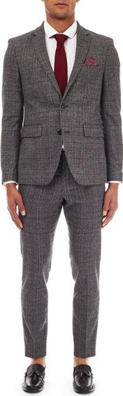 3 Piece Charcoal And Red Suit