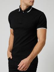 Black Ribbed Zip Neck Polo Shirt
