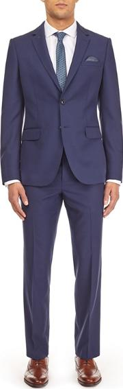 Blue Twill Tailored Fit Suit Jacket