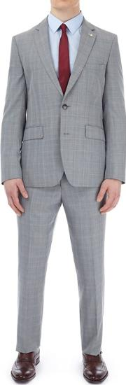 Grey Highlight Check Tailored Fit Suit Jacket