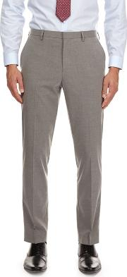 Light Grey Slim Fit Suit Trousers With Stretch