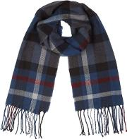 Navy Large Scale Check Scarf