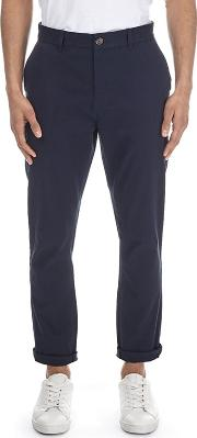 Navy Tapered Fit Stretch Chinos