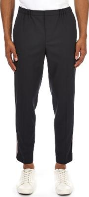 Navy Tapered Multi Striped Trousers
