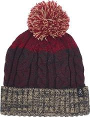 Red Rust Cable Bobble Beanie Hat