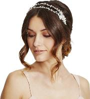 Designer Double Row Crystal Leaf And Pearl Headband
