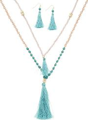 Designer Tassel And Bead Double Necklace And Matching Earring Set