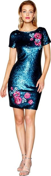 Turquoise Embroidered And Sequin Mini Dress