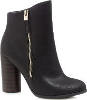 Black azizi High Block Heel Ankle Boots