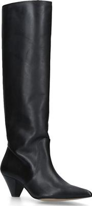 Black whimsy Leather Cone Heel Knee Boots