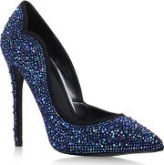 Blue glassy High Heel Court Shoe