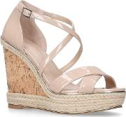 Nude sublime High Heel Wedge Sandals