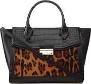 Black Patent olympia Heritage Leopard Print Pony Hair Insert Tote Bag