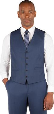 Big & Tall Bright Blue Pick And Pick 5 Button Front Suit Waistcoat