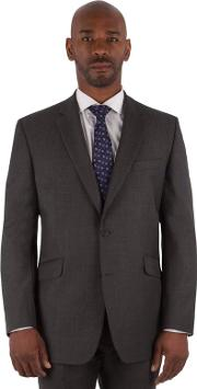 Big & Tall Charcoal Textured Big And Tall 2 Button Front Regular Fit Suit Jacket