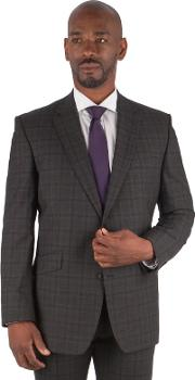 Big & Tall Charcoal Tonal Check Big And Tall 2 Button Front Regular Fit Suit Jacket