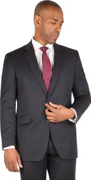 Big & Tall Navy Chalk Stripe Big And Tall 2 Button Front Regular Fit Suit Jacket