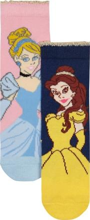 Disney pack Of Two Girls Navy And Pink Princess Socks
