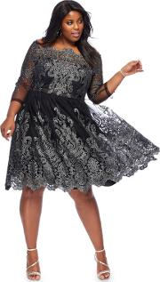 867e894e4c Black lottie Metallic Embroidered Knee Length Plus Size Prom Dress. chi chi  london