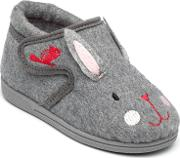 Girls Grey katie The Rabbit Slippers In Soft Textile