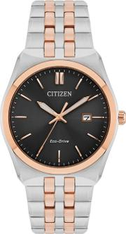 Mens Silver And Rose Gold Eco Drive Analogue Bracelet Watch Bm7336 52h