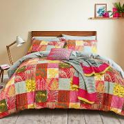 Bright Pink Cotton Percale 180 Thread Count mini Patchwork Bedding Set