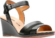Clarks Black Leather lafley Aletha High Wedge Heel Peep Toe Sandals