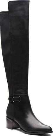 Clarks Black Leather poise Orla Mid Block Heel Knee High Boots