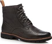 Clarks Dark Brown Leather batcombe Lord Lace Up Boots