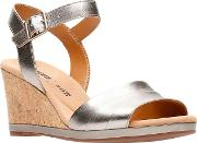 Clarks Metallic Leather lafley Aletha High Wedge Heel Peep Toe Sandals