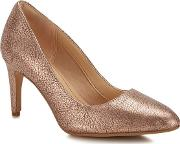 Clarks Rose Gold Leather laina Rae High Stiletto Heel Court Shoes