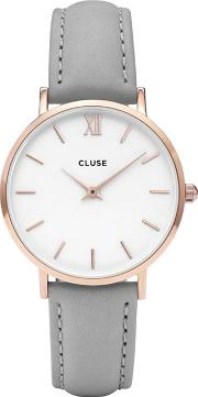 Ladies Rose Gold And Grey minuit Leather Strap Watch