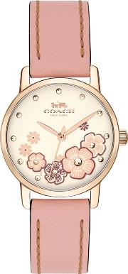 Ladies Pink grand Analogue Leather Strap Watch