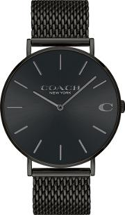 Mens Black charles Analogue Bracelet Watch