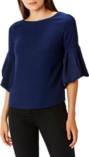 Navy 'anais' Bell Sleeves Blouse