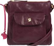 Plum shona Handcrafted Leather Cross Body Bag