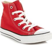 Boys Red all Star Hi Top Trainers
