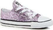 Girls Pink Glitter chuck Taylor Lace Up Trainers