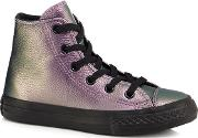 Girls Purple Leather chuck Taylor Hi Top Trainers