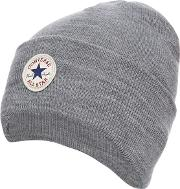 Grey Logo Applique Beanie Hat