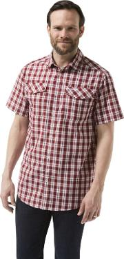 Red Crooble Short Sleeved Check Shirt