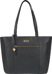 Navy bella Leather Tote Bag