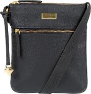 Navy halle Leather Cross Body Bag
