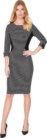 Black And White Addison Stripe Fitted Dress