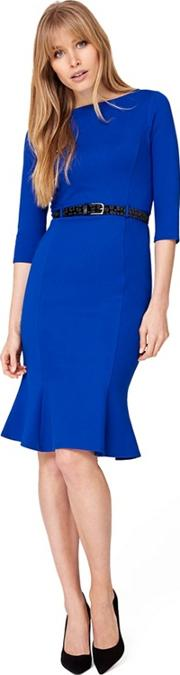 Blue Hawthorne Belted Ponte Dress
