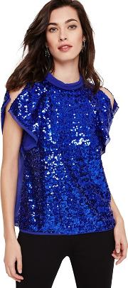 Blue Tally Sequin Blouse